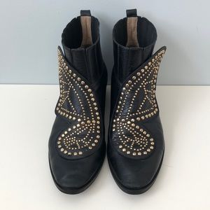 Butterfly Studded Ankle Boots Black Gold Size 38